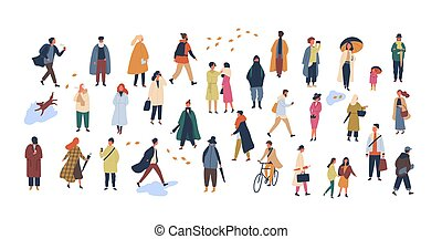 Crowd of tiny people dressed in autumn clothes or outerwear...