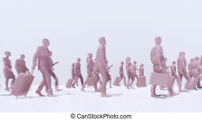Schematic representation of the gradual virus COVID-19 infection of a crowd of abstract unrecognizable people on white background. ?oronavirus pandemic theme conceptual 3D animation rendered in 4K