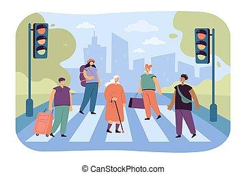 Crowd of various people crossing avenue road