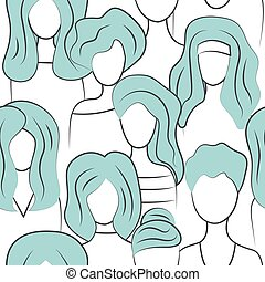 seamless pattern group of girls