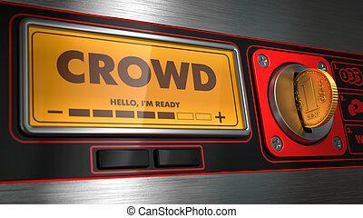 Crowd on Display of Vending Machine. - Crowd - Inscription...