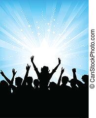 Crowd on starburst backgr - Excited crowd on starburst...