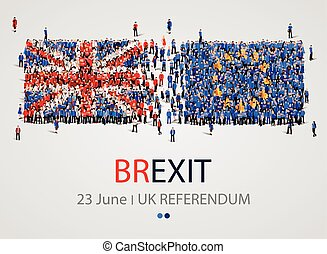 Crowd or group of people in form of British and Europe flags. United Kingdom European Union. Brexit.