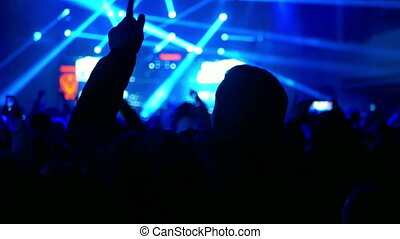 Crowd party rock concert - Crowd making party at a rock...