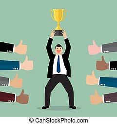 Crowd praise businessman holding up a winning trophy