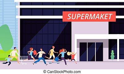 Crowd run to supermarket. Sale discount time, big store building. Cartoon man woman kids shopping. Excitement or hype, race for food or goods vector illustration