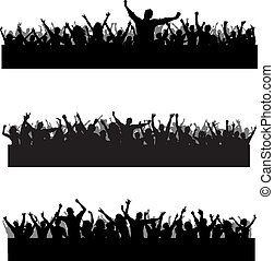 Collection of three different party crowd silhouettes