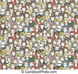 crowd, seamless pattern