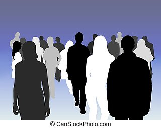 Illustrated crowd of people of various shades