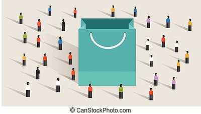 crowd shopping sale paper bag buy gift purchase marketing...