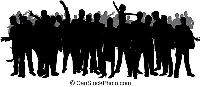 crowd, silhouette