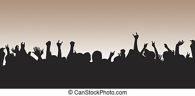 Crowd silhouette rockin' out and throwing slayers all over. Perfect for use web, background ad, or whatever your creative mind desires.