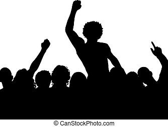Crowd - Silhouette of a crowd with one person on anothers...