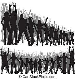 crowd, silhouetten