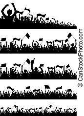 Crowd Silhouettes - Easy editable vector crowd silhouette...