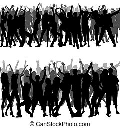 Crowd Silhouettes - Foregrounds and Backgrounds Illustration...