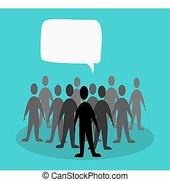 crowd speak concept in green background