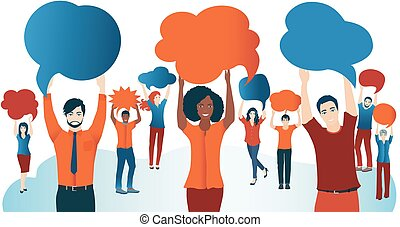 Crowd talking. Group of diverse people with speech bubble. Communication and sharing. Social network. Share ideas. Multi-ethnic people who talk and socialize and communicate. Solidarity