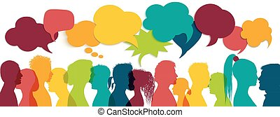 Crowd talking. Group of multi-ethnic and multicultural people who speak. Communication between multiracial people. Colored profile silhouette. Communicate social networks. Speaking. Speech bubble
