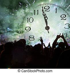 crowd, uhr, mitternacht, warten, jahr, schließen, neu