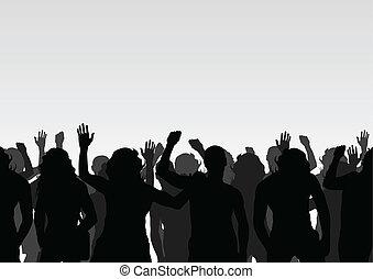 crowd, vektor, hintergrund, landschaftsbild, protesters