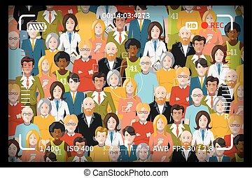 crowd, von, leute, gruppieren foto, schuss, begriff, mit, reflex, fotokamera, sucher, markierungen
