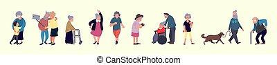 crowd, von, senioren, leute., älter, draußen, activities., altes , männer frauen, gehen., erholung, und, freizeit, älter, tätigkeiten, begriff
