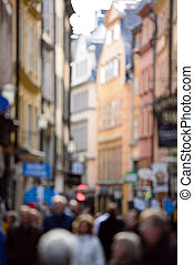 crowd, von, shoppen, leute, stadt