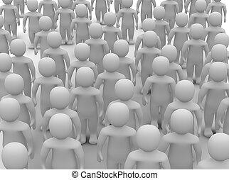 crowd, von, uniform, leute., 3d, geleistet, illustration.