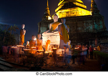 Crowd walking with Candle Light