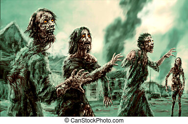Crowd walking zombies against backdrop of burning city