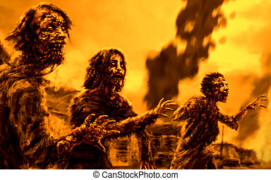 Crowd walking zombies against background of burning city