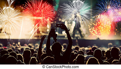 Crowd watching fireworks at New Year