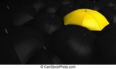 Crowd with umbrella - Conceptual animation, Crowd with...