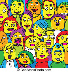 A crowd of cartoon people in an audience.