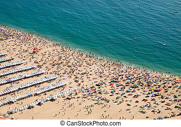 Crowded beach in Nazare
