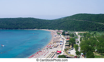 Crowded beach of Montenegro