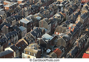Crowded buildings - Aerial view of crowded buildings in Le...