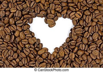 coffee beans shows a heart shape