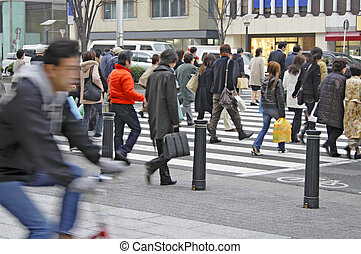 Crowded downtown - Image of the crowd in a downtown crossing...