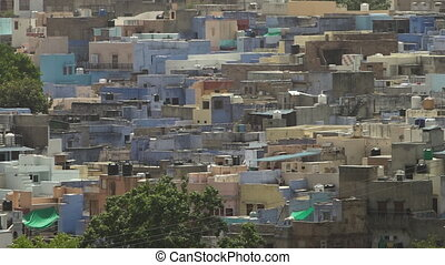 Crowded houses and buildings in Jodhpur - View of densely...