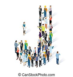 Crowded isometric people vector alphabet typeface capitals set. Men and women various characters and professions. Letter J.