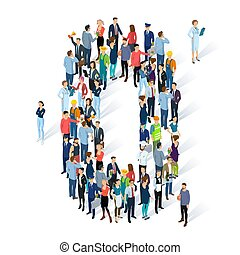 Crowded isometric people vector alphabet typeface numbers. Men and women various characters and professions. Figure zero.