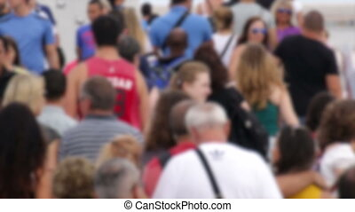 Crowded Maremagnum Marketplace Blur - Crowds of tourists in...