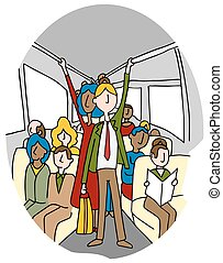 Crowded People Bus Riders