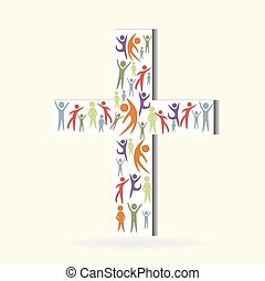 Crowded people on white cross logo