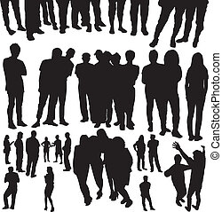 crowded people silhouette vector - Vector drawing silhouette...