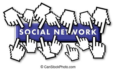 Crowded social network with hands