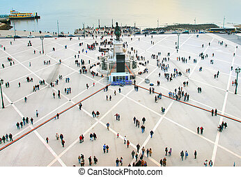 Crowded square, Lisbon, Portugal