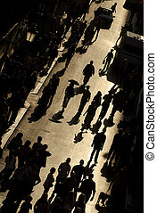 crowded street - view from above of busy street with people...